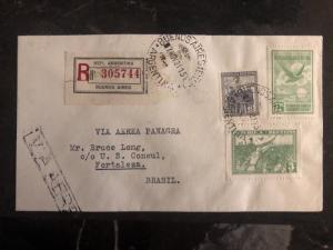 1931 Buenos Aires ARgentina First Flight Cover FFC To Fortaleza Brazil FAM 10