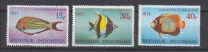 J29331, 1971 indonesia set mh #810-12 fish
