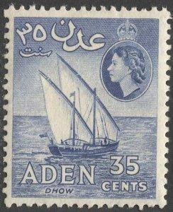 ADEN Arabian Gulf  1953 Sc 52,53b MLH VF, 35c Dhow, Ultramarine