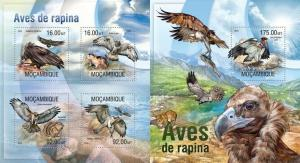 Mozambique 2013 birds of prey nice animals of africa kbl+s/s MNH