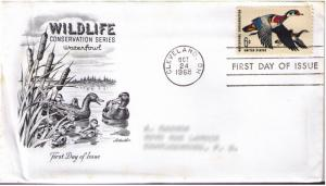 US SCOTT #1362 FIRST DAY COVER CLEVELAND, OCT 24 1968 WATERFOWL CONSERVATION