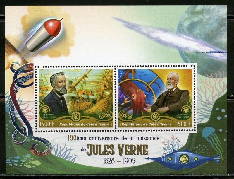 IVORY COAST 2018 190th  BIRTH ANN OF JULES VERNE SHEET OF TWO  MINT  NH