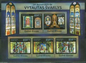 GUINEA BISSAU  2013 70th BIRTH VYTAUTAS SVARLYS W/POPE JOHN PAUL II SHT  MINT NH