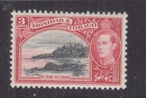 TRINIDAD & TOBAGO, 1938 KGVI 3c. Black & Scarlet, lhm.