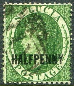 ST LUCIA-1882 ½d Green Sg 25 GOOD USED V49023