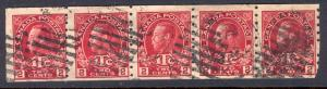 CANADA MR6 USED STRIP OF 5 KING GEORGE 1916