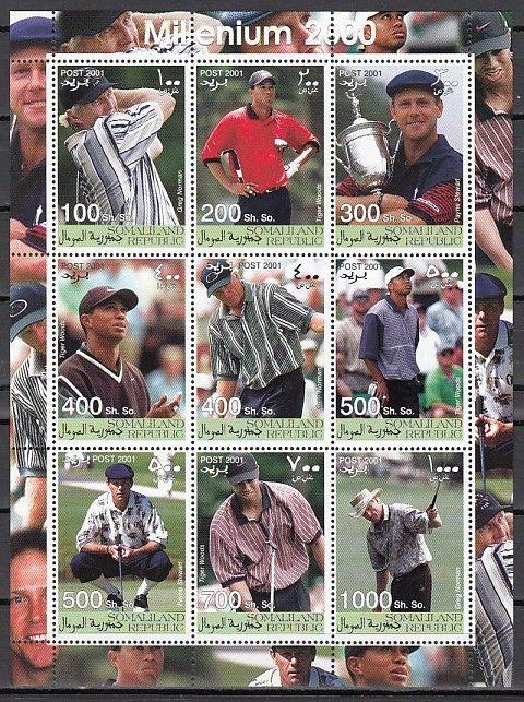 Somaliland, 2001 Cinderella issue. Golfer Tiger Woods on a sheet of 9.