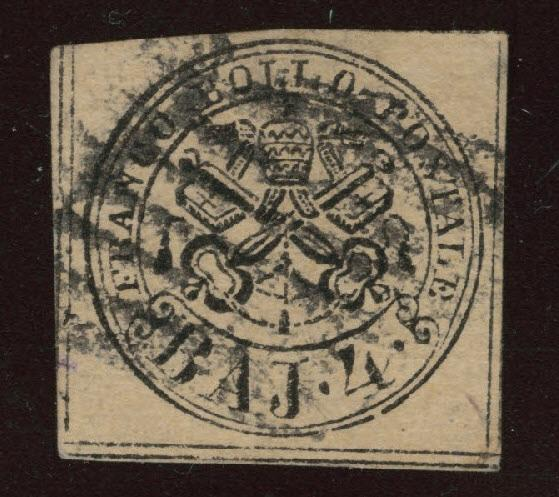 Roman or Papal States Scott 5b Used 1852 on Rose Brown