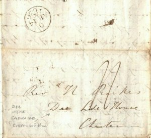 GB Cheshire Cover *Dee House* Chester Cross-written EL Letter 1836 EP60