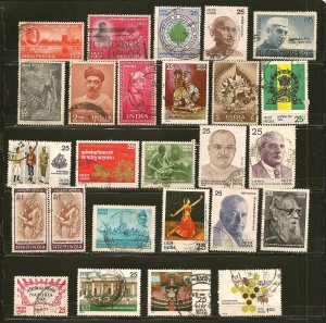 India Collection of 25 Different 1960's-1970's Commemorative Stamps Used