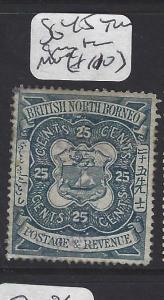 NORTH BORNEO  (PP2811B)   BNB  25C ARMS, LION SG 45 TINY GUM THIN MOG