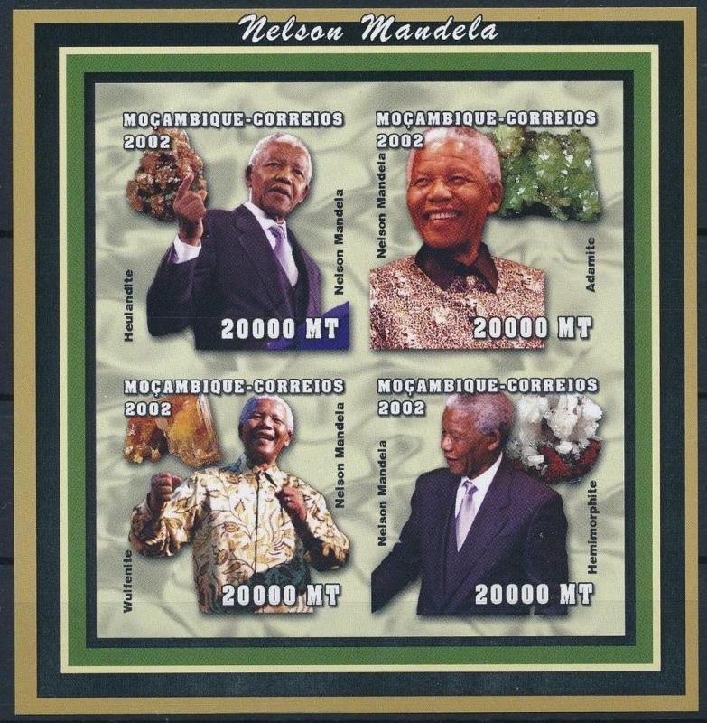 MOZAMBIQUE SHEET IMPERF MINERALS MANDELA NOBEL PRIZE