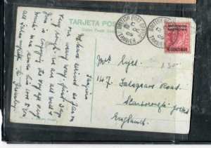 MOROCCO COVER (PP2912B) 1909 KE 10C ON PPC TO UK ANTIQUE OVER 100 YEARS OLD