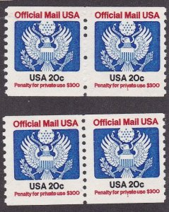 US Officials o135, MNH Pair With Plate Number, 2 Copies