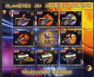 Djibouti 2007 M/S Space Explore Planet Telescope Sciences Solar System Stamps