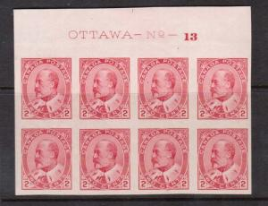 Canada #90a XF/NH Plate #13 Upper Block Of Eight