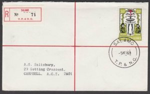 PAPUA NEW GUINEA 1969 Registered cover ex SALAMO............................M867