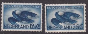 Netherlands # C11-12, Crow in Flight, Hinged 1/3 Cat.