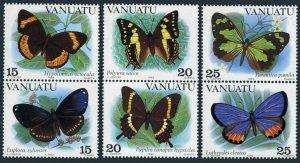 Vanuatu 346-348 ab vertical pairs,MNH.Michel 644-649. Butterflies 1983.