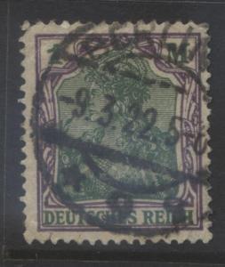 GERMANY -Scott 129 - Germania Definitive - 1920 -FU Single 1m Vio & Green Stamp1