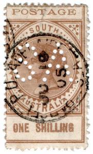 (I.B) Australia Postal : South Australia 1/- (SG 275) SA perfin