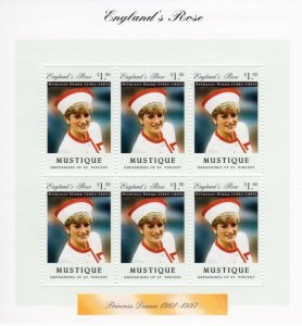 Mustique 1997 PRINCESS DIANA Sheet Perforated Mint (NH)