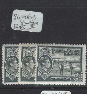 TURKS AND CAICOS (P2203B)  KGVI   2 D  SG 197  X 3  SHADES   MOG
