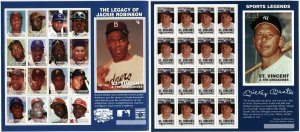 St.Vincent Grenadines BASEBALL Jackie Robinson Mickey Mantle Postage Sheets MNH