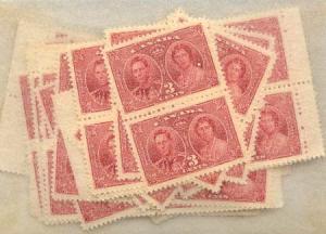 Canada - 1937 3c Coronation X 100 mint #237 Inc. Blocks F-VF-NH