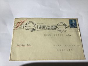 B.S.A. Motorcycle  Latvia 1935 to Lucas Birmingham stamp cover Ref R28593