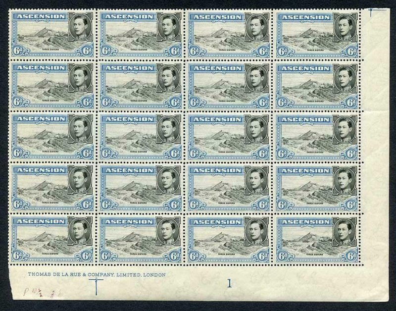 Ascension SG43 6d Black and Blue U/M Plate Block of 20 Perf 13.5 Cat 280 pounds