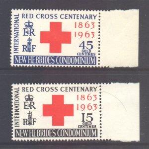 Vanuatu New Hebrides Scott 94/95 - SG96/97, 1963 Red Cross Set MNH**