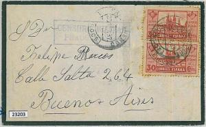 SPAIN - POSTAL HISTORY - GUERRA CIVIL Mourning Cover to ARGENTINA with CENSOR