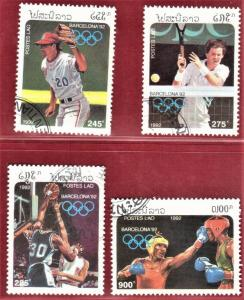 LAOS SCOTT #1059-62 **USED** 1992  OLYMPICS. SEE SCAN
