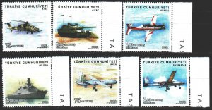 Turkey. 2017. 4386-91. Military equipment, helicopters, aviation. MNH.