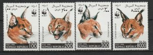 Somali MNH Set Caracal WWF Wild Cats 1998