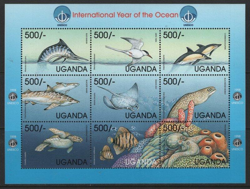 UGANDA  1596, SHEET OF 6, MNH, 1999 Marine life