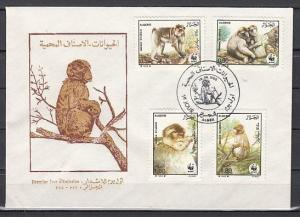 Algeria, Scott cat. 872-875. W.W.F., Monkeys issue on a First day cover.