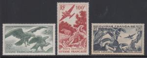 French Guiana Sc C18-C20 MLH. 1947 Birds, cplt set of Air Post