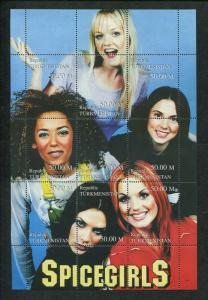 Turkmenistan Commemorative Souvenir Stamp Sheet - Spicegirls