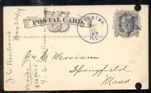 1879 STAUNTON ILL . & large STAR fancy cancel in purple on 1¢ card, punch holes