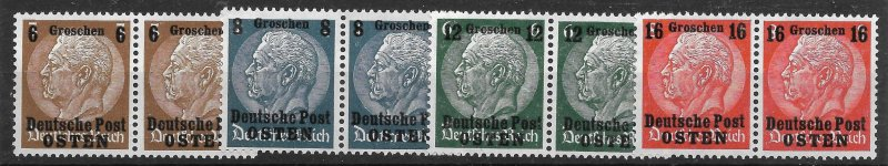 Doyle's_Stamps: NH Polish Pairs in German Occupation Set, Scott #N17** to #N29**
