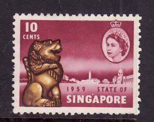 Singapore-Sc#44-used 10c magenta-QEII-1959-