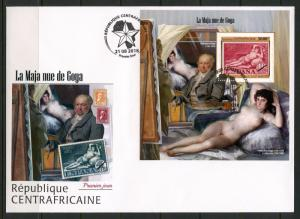 CENTRAL AFRICA 2018 GOYA'S NUDE MAJA  SOUVENIR SHEET FIRST DAY COVER