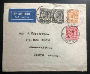 1931 Entebbe Uganda KUT First Flight Cover FFC To Johanesburg South Africa
