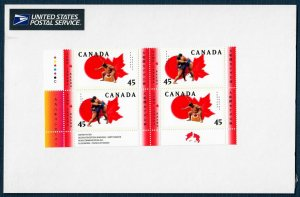 Canada 1723-24 MNH Block of 4 Sumo Wrestling (SCV $3.00)