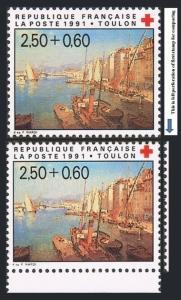 France B638-B638a,MNH.Michel 2867A-2867C. Red Cross,1991.Francois Nardi.Harbor.