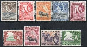 1954-59 Kenya Uganda Tanganyika Sg 167/77 Short Set of 9 Values Mounted Mint