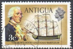 ANTIGUA 1972 3c. Viscount Hood and H.M.5. Barfleur  used