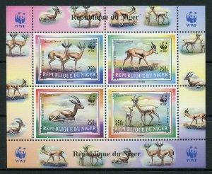 Niger 1998 MNH Dorcas Gazelle WWF 4v M/S Gazelles Deer Wild Animals Stamps